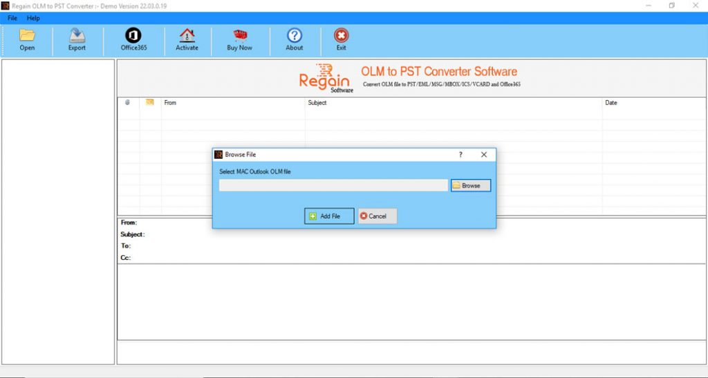 OLM to PST Software - Home Screen