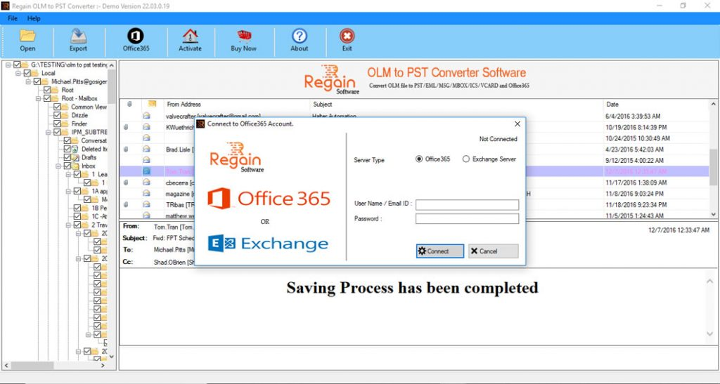 Migrate OLM to Office 365 Account