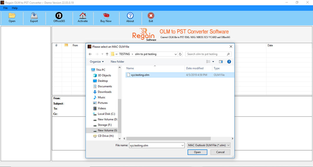 Select OLM file for Conversion